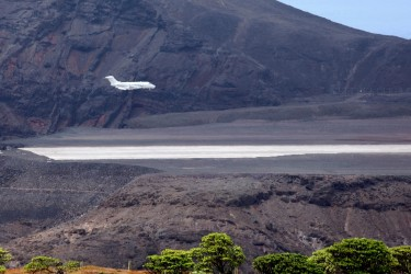 Execujet arriving at St Helena Airport